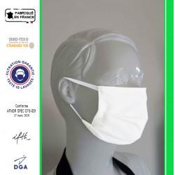 Masque de type chirurgical, en tissu, réutilisable, réglable